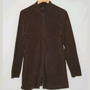 Eileen Fisher High Collar Full Zip Knit Jacket